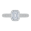 18K White Gold Emerald Cut Diamond Halo Engagement Ring