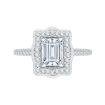 18K White Gold Emerald Cut Diamond Halo Vintage Engagement Ring with Euro Shank