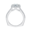 18K White Gold 1/4 Ct Diamond Carizza Semi Mount Engagement Ring to fit Emerald Center