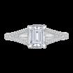 18K White Gold Split Shank Emerald Cut Diamond Engagement Ring (Semi-Mount)