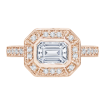 18K Pink Gold 1/3 Ct Diamond Carizza Semi Mount Engagement Ring to fit Emerald Center