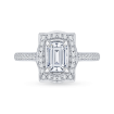 18K White Gold Emerald Diamond Halo Engagement Ring (Semi-Mount)