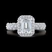 Emerald Cut Diamond Halo Engagement Ring In 18K White Gold (Semi-Mount)