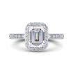 Platinum Emerald Cut Diamond Halo Engagement Ring (Semi-Mount)