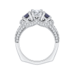 18K White Gold 3/8 Ct Diamond and 3/4 Ct Saphhire Carizza Semi Mount Engagement Ring to fit Oval Center