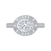 18K White Gold 1/4 Ct Diamond Carizza Semi Mount Engagement Ring to fit Oval Center