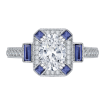 18K White Gold Oval Diamond and Sapphire Engagement Ring (Semi-Mount)