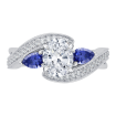 18K White Gold 1/5 Ct Diamond and 1/2 Ct Saphhire Carizza Semi Mount Engagement Ring to fit Oval Center