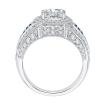 18K White Gold 5/8 Ct Diamond and 1/10 Ct Saphhire Carizza Semi Mount Engagement Ring to fit Oval Center