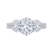 18K White Gold Oval Cut Diamond Three-Stone Cathedral Style Engagement Ring (Semi-Mount)