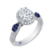 18K White Gold Oval Diamond Halo Engagement Ring with Sapphire