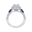 18K White Gold 1/2 Ct Diamond and 5/8 Ct Saphhire Carizza Semi Mount Engagement Ring to fit Oval Center