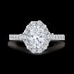 18K White Gold Oval Diamond Halo Engagement Ring (Semi-Mount)