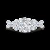 14K Two-Tone Gold Oval Diamond Three-Stone Plus Engagement Ring with Split Shank (Semi-Mount)