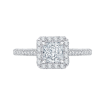 18K White Gold 3/4 Ct Diamond Carizza Semi Mount Engagement Ring to fit Princess Center