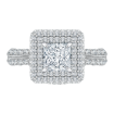 18K White Gold Princess Cut Diamond Double Halo Engagement Ring (Semi-Mount)