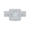 18K White Gold 1 5/8 Ct Diamond Carizza Semi Mount Engagement Ring to fit Princess Center