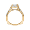 18K Yellow Gold 7/8 Ct Diamond Carizza Semi Mount Engagement Ring to fit Princess Center