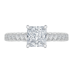14K White Gold Princess Cut Diamond Cathedral Style Engagement Ring (Semi-Mount)