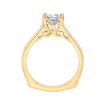 18K Yellow Gold 1/5 Ct Diamond Carizza Semi Mount Engagement Ring to fit Princess Center