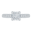 Princess Cut Diamond Floral Engagement Ring In 18K White Gold (Semi-Mount)