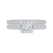 Princess Cut Diamond Floral Engagement Ring In 18K White Gold