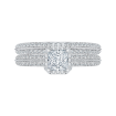 18K White Gold Princess Cut Diamond Floral Engagement Ring