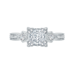18K White Gold Princess Diamond Vintage Engagement Ring (Semi-Mount)