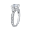 18K White Gold 1/4 Ct Diamond Carizza Semi Mount Engagement Ring to fit Princess Center