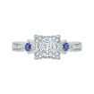 18K White Gold Princess Diamond Engagement Ring with Sapphire