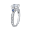 18K White Gold .14 Ct Diamond and 3/8 Ct Saphhire Carizza Semi Mount Engagement Ring to fit Princess Center