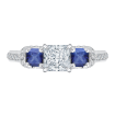 18K White Gold Princess Diamond and Sapphire Three-Stone Engagement Ring (Semi-Mount)