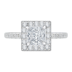 18K White Gold 1/2 Ct Diamond Carizza Semi Mount Engagement Ring to fit Princess Center