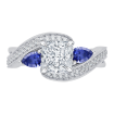 18K White Gold 1/5 Ct Diamond and 5/8 Ct Saphhire Carizza Semi Mount Engagement Ring to fit Princess Center