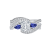 18K White Gold Princess Diamond and Sapphire Engagement Ring