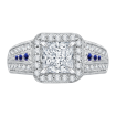 18K White Gold Princess Diamond and Sapphire Halo Engagement Ring (Semi-Mount)