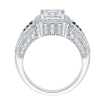 18K White Gold Princess Diamond and Saphhire Engagement Ring