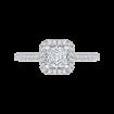 18K Two-Tone Gold Princess Cut Diamond Halo Engagement Ring (Semi-Mount)