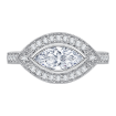 18K White Gold 1/3 Ct Diamond Carizza Semi Mount Engagement Ring to fit Marquise Center