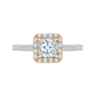 18K Two-Tone Gold Cushion Diamond Halo Engagement Ring (Semi-Mount)