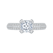 14K White Gold Cushion Cut Diamond Cathedral Style Engagement Ring with Euro Shank (Semi-Mount)
