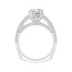 18K White Gold 7/8 Ct Diamond Carizza Semi Mount Engagement Ring to fit Cushion Center