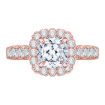 18K Pink Gold Cushion Diamond Engagement Ring