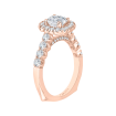18K Pink Gold 7/8 Ct Diamond Carizza Semi Mount Engagement Ring to fit Cushion Center