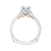 18K Two-Tone Gold Cushion Cut Diamond Solitaire Engagement Ring