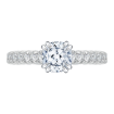 14K White Gold Cushion Diamond Cathedral Style Engagement Ring with Euro Shank (Semi-Mount)