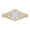 18K Yellow Gold Cushion Diamond Halo Engagement Ring with Split Shank (Semi-Mount)