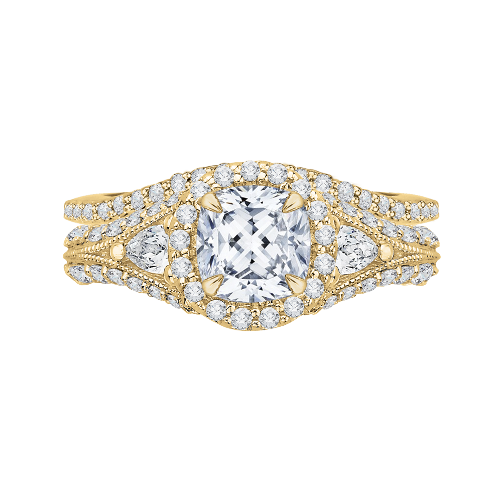 18K Yellow Gold 1 1/5 Ct Diamond Carizza Semi Mount Engagement Ring to fit Cushion Center