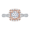 Cushion Diamond Halo Vintage Engagement Ring In 18K Two-Tone Gold