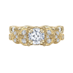 18K Yellow Gold Cushion Diamond Floral Engagement Ring